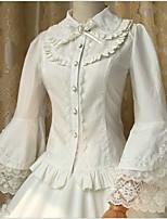 Sweet Lolita Long Sleeve White / Black Cotton Lolita Dress