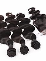 6a peruanisches reines Haar mit Verschlusskörper Wellenspitze Verschluss mit Bündel 4pcs / lot beste Haar