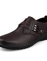 Men's Oxfords Spring / Fall Comfort Leather Casual Flat Heel Others / Lace-up Black / Brown Others