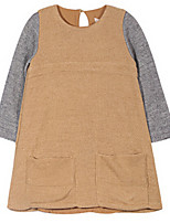 Girl's Brown Dress,Ruffle Cotton Summer / Spring