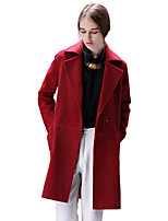Women's Solid Red / Beige / Green Trench Coat,Simple Long Sleeve Polyester