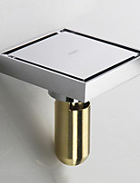 Square Shower Floor Drain with Tile Insert Grate Deep Style Chrome Finish