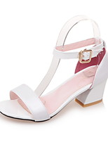 Women's Shoes Patent Leather Chunky Heel Round Toe Sandals Dress Blue / Pink / Red / White