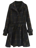 Women's Plaid Blue Pea Coats,Simple Long Sleeve Polyester