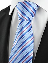 KissTies Men's Striped Pink Blue Microfiber Tie Necktie For Wedding Party Holiday With Gift Box