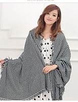 Women Cotton Oversized Thick Black And White Plaid Cashmere Wool Scarf Shawl