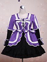 Steampunk® Cute Lace Up Purple and Black  Cotton Gothic Lolita Dress