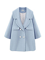 Women's Solid Blue Coat,Simple Long Sleeve Wool