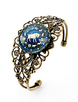 Lureme® Vintage Jewelry Time Gem The Zodiac Series Taurus Antique Bronze Hollow Flower Open Bangle Bracelet for Women