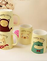 2PCS 400ML Bear Ceramic Cup Cartoon Animals Spoon Creative Mug  Cup