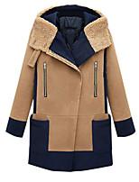 Women's Patchwork Pea Coats,Simple / Street chic Long Sleeve Wool