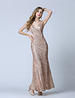 Formal Evening Dress-Gold Trumpet/Mermaid V-neck Ankle-length Tulle / Sequined