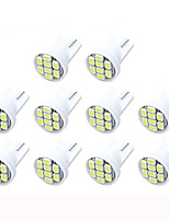 Lorcoo 10PCS LED Car Lights Bulb T10 3528 4-SMD 194 168(White)