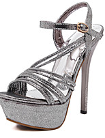 Sandals Spring Summer Fall Club Shoes Synthetic Office & Career Party & Evening Dress Stiletto Heel Silver Gold