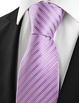 KissTies Men's New Striped Lavender Microfiber Tie Necktie For Wedding Holiday With Gift Box