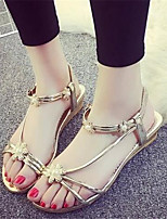Women's Shoes Synthetic Flat Heel Peep Toe Sandals Outdoor / Casual Silver / Gold