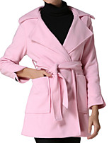Women's Solid Pink Pea Coats,Simple / Street chic Long Sleeve Wool