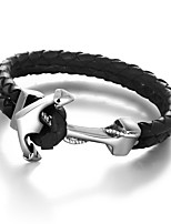 2016 Genuine Leather Anchor Stainless Steel Male Punk 215m Mens Bracelet