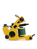 Handmade Tattoo Machine 10 Warps Coils Cast Iron Yellow Liner  Shader Machine