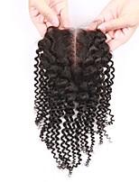 1pcs de cierre frontal del cordón rizado rizado negro medio virgen frontal llena del cordón 4