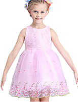 Girl's Pink / White Dress Cotton / Polyester Summer