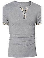 Men's Fashion Plaid Patchwork Short Sleeve T-Shirt, Cotton /Polyester