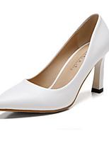 Damenschuhe-High Heels-Kleid-Kunstleder-Blockabsatz-Absätze / Spitzschuh / Geschlossene Zehe-Schwarz / Weiß / Mandelfarben