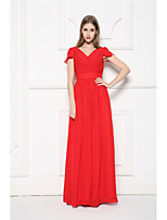Floor-length Chiffon Bridesmaid Dress-Ruby A-line V-neck