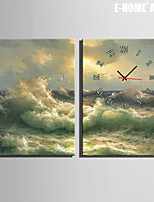 E-HOME® Rolling Waves Clock in Canvas 2pcs
