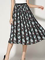 Women's Floral Pleated High Rise Chiffion All Match Skirts,Vintage / Casual / Day Midi