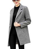 Women's Solid Blue / Gray Coat,Simple Long Sleeve Wool