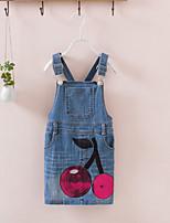 Girl's Cotton Summer Cherry Paillette Pattern Front Pocket Suspender Dress