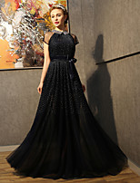 Formal Evening Dress-Dark Navy Sheath/Column Jewel Floor-length Tulle / Sequined