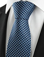 KissTies Men's New Squared Dark Blue Checked Microfiber Tie Necktie For Holiday With Gift Box