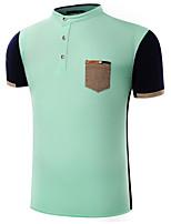 Men's Short Sleeve Polo,Cotton Casual / Formal Color Block