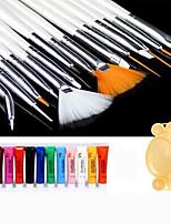 Nail Art Paint Kit(15PCS White Brush + 12PCS Paint + 1PC Random Color Palette)