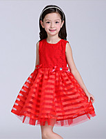 A-line Short/Mini Flower Girl Dress-Lace / Polyester Sleeveless