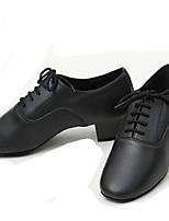 Customizable Men's Dance Shoes Latin / Jazz / Dance Sneakers / Tap / Modern Leather Chunky Heel Black(Fur bottom)