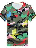 Men's Fashion Casual Camouflage Slim Fit Short Sleeve T-Shirt, Cotton /Polyester