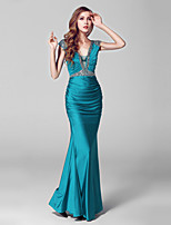 Formal Evening Dress-Clover Trumpet/Mermaid V-neck Floor-length Charmeuse / Sequined