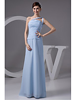 Formal Evening Dress-Sky Blue Sheath/Column One Shoulder Floor-length Chiffon