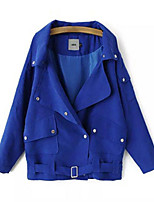 Women's Solid Blue / Black / Green Coat,Simple Long Sleeve Polyester