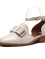 Women's Shoes Patent Leather Chunky Heel Comfort / Square Toe Sandals Outdoor / Casual Black / Beige