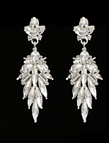 Vintage Women's  Earrings Crystal Zircon Diamond  Silver Earring For Wedding Bridal
