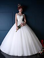웨딩 드레스-아이보리(색상은 모니터에 따라 다를 수 있음) 프린세스 바닥 길이 스쿱 튤
