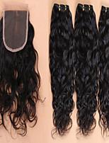 pelo virginal brasileño con cierre de cordón de la onda agua brasileño de cierre con el pelo lía 4pcs / lot