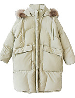 Women's Solid White Padded Coat,Simple Hooded Long Sleeve