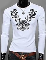 Men's Print Casual T-Shirt,Cotton Long Sleeve-Black / White / Gray
