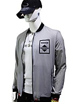 Men's Long Sleeve Jacket,Cotton Casual / Work / Formal / Sport / Plus Sizes Pure / Color Block