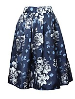 Women's Floral Blue / Black / Yellow Skirts,Casual / Day Knee-length